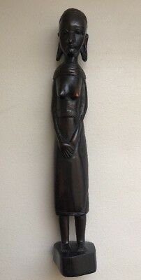 Tanganyika Hand Carved African Tribal Woman Figure Statue 12""