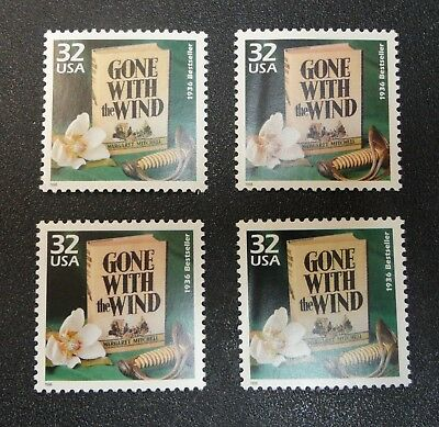 Lot of 4 MNH Mint US Stamps Gone With The Wind Sc#3185i Scrapbooking Art Use 'em