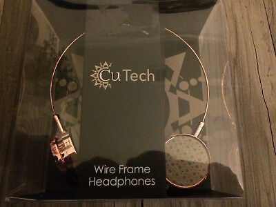 Cu Tech Wire Frame Headphones Rose Gold Vegan Leather Ear Pads Phones PC's NIB