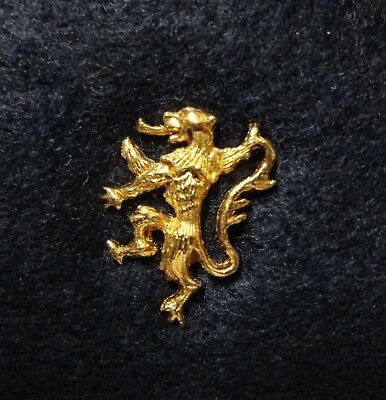 Beautiful British or European Royal ? Golden Lion Standing Erect 3D Lapel Pin