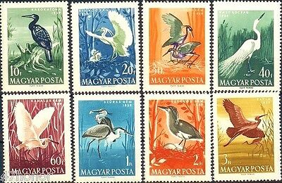Hungary 1959 , Water Birds , Stamp set of 8 MNH