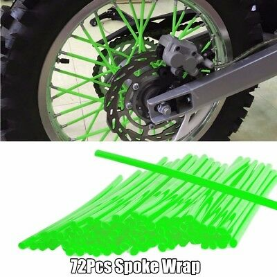72Pcs Green Wheel Rim Spoke Wraps Skins Cover Fit For Motorcycle Dirt Pit Bikes