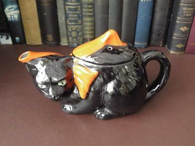 Antique Crown Ducal Black Cat Teapot - 1916-1922