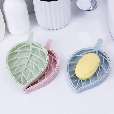 Bathroom Shower LeafShape Soap Box Dish Storage Plate Tray Holder Case Container