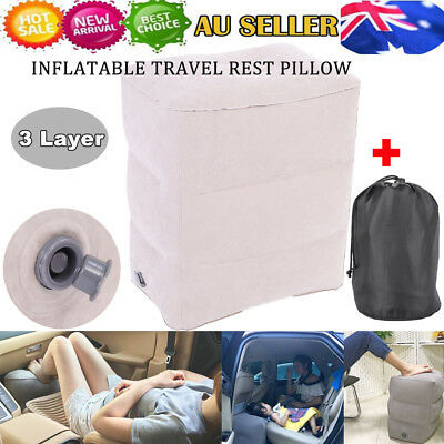 Travel Inflatable Foot Rest Portable Pad Footrest Pillow Kids Plane Train Bed AU