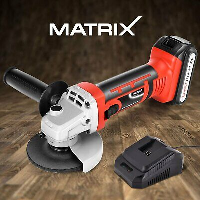 Matrix Cordless Angle Grinder 115mm Metal Cutting Tool 20V 1.5Ah Battery Charger