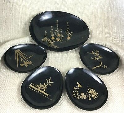 Vintage Japanese Lacquer Ware Tray Plate Set Dish Bowl Black & Gold