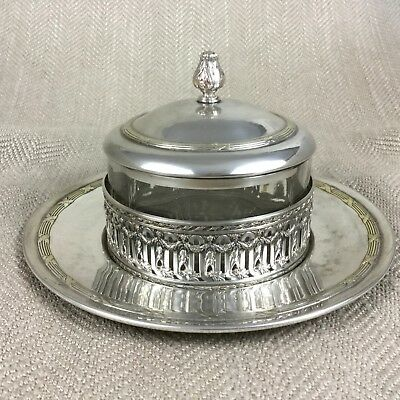 Antique Butter Jam Dish Preserve Jar French Silver Plate Ribbon & Reed