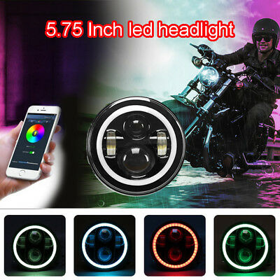 For Harley 5.75''inch LED Headlight RGB Motorcycle Bluetooth Halo Projector Head
