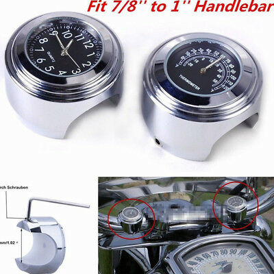 """7/8"""" to 1"""" Aluminum Alloy Motorcycle Handlebar Watch Dial Clock Thermometer Temp"""