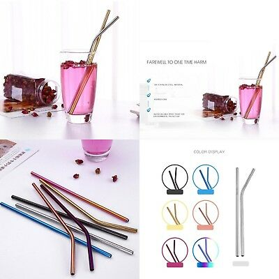 11 Colors Reusable Metal Drinking Straws Stainless Drinks Straw Party Decoration