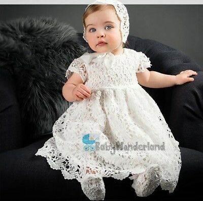 Baby Girl 2Pcs Cotton Lace Christening Baptism Gown Lace Dress + Bonnet Size0-2Y