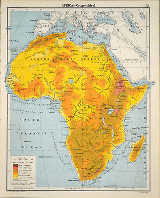 AFRICA - OROGRAPHICAL 1905 Robertson & Bartholomew ANTIQUE MAP