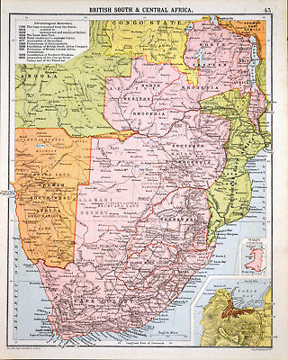 BRITISH SOUTH & CENTRAL AFRICA 1905 Robertson & Bartholomew ANTIQUE MAP
