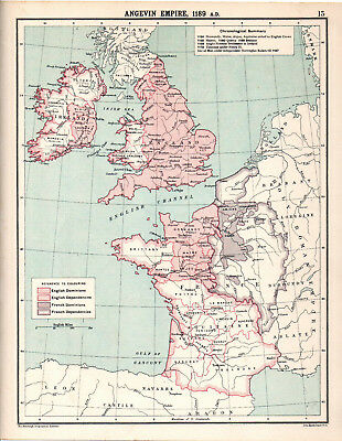 ANGEVIN EMPIRE, 1189 A.D. 1905 Robertson & Bartholomew ANTIQUE MAP