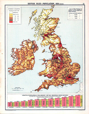 BRITISH ISLES - POPULATION 1905 Robertson & Bartholomew ANTIQUE MAP