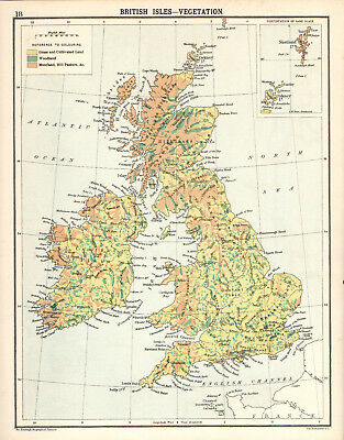 BRITISH ISLES - VEGETATION 1905 Robertson & Bartholomew ANTIQUE MAP