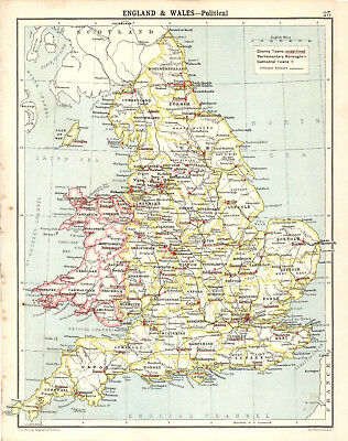 ENGLAND & WALES - POLITICAL 1905 Robertson & Bartholomew ANTIQUE MAP