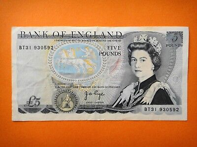 UK - BRITISH - FIVE POUND NOTE - BANK OF ENGLAND- aEF -CIRCULATED CONDITION