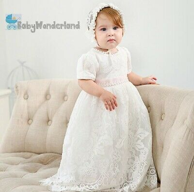 Baby Girl 2 Pcs White Long Christening Gown Baptism Birthday Lace Dress 0-2Y