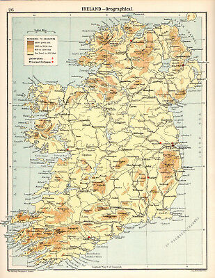 IRELAND - OROGRAPHICAL 1905 Robertson & Bartholomew ANTIQUE MAP
