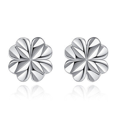 925 Sterling Silver Lucky Clover Ear Stud Earrings Women Girl's Fashion Gift