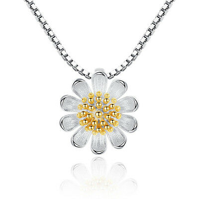 925 Sterling Silver Sunflower Daisy Flower Pendant Necklace For Women Girl Gift