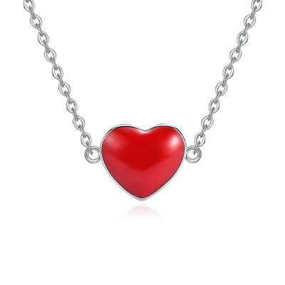 925 Sterling Silver Red Heart Pendant Necklace Women Lover Valentine's Day Gift