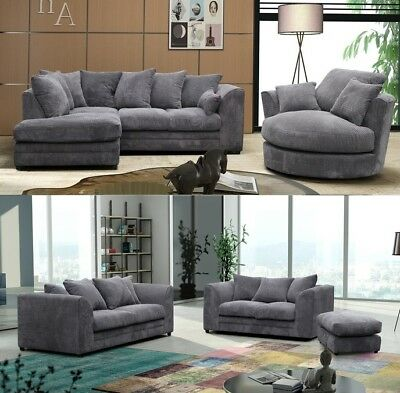 Darcey Fabric Jumbo Cord Corner Sofa 3 2 Seater Grey Swivel Chair