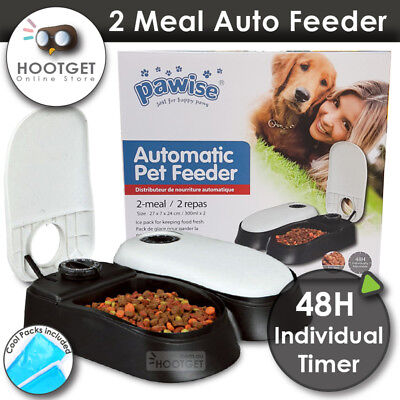 PAWISE AUTO Feeder Dog Pet Dispenser Food Bowl Cat 2 Meal Timer With Cool Pads