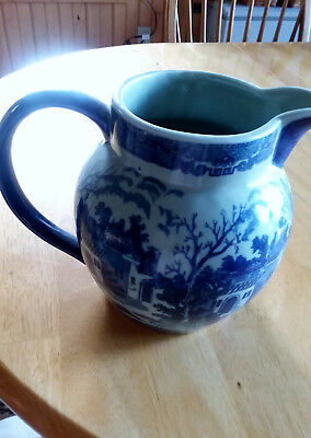 Unique BIG Vintage Victoria Ware Ironstone Pitcher Beautiful Shades of Blue