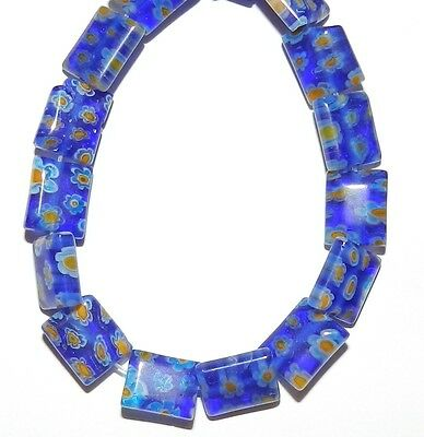 """G3272f Blue with White & Yellow Flowers 7mm Square Millefiori Glass Beads 15"""""""