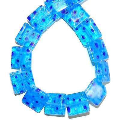 """G4045L Blue with Multiple Flower 14mm Flat Square Millefiori Glass Beads 14"""""""