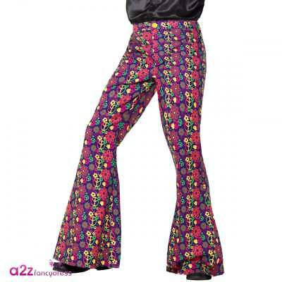 Mens 60s 70s Psychedelic CND Flared Trousers Adult Hippie Flares Fancy Dress