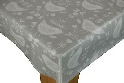 OilCloth Tablecloth PVC Coated Cotton WipeClean Waterproof Narvic Grey Birds