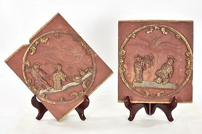 Pair Antique Chinese Red & Gold Wood Carved Wall Panel, Qing Dynasty, 19th c