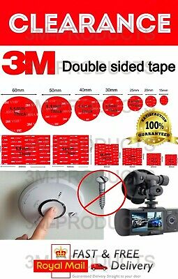 3M Double Sided Self Adhesive Sticker Sticky Pad For Dash Cams & Smoke Alarms