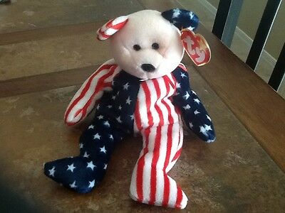Ty Beanie Baby, Spangle, pink face, red/white/blue 1999 mint tag