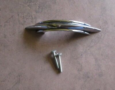 Vintage drawer pull chrome plated with 2 black lines Amerock – Deco style