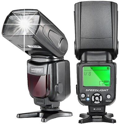 Speedlite Flash with LCD Display for Canon and Nikon Digital DSLR Cameras