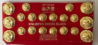 Us Marines Enlisted Buttons Set Dress Blues Tunic & Cap Anodized Brass Gold
