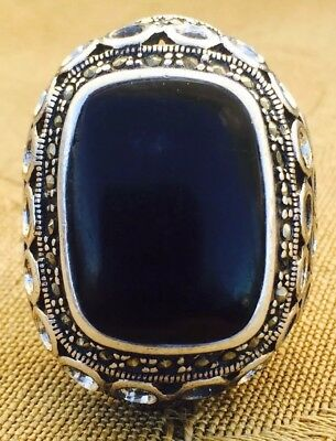 Large Chunky Sterling Silver Black Onyx Reticulated Open Hand Crafted Size: 9