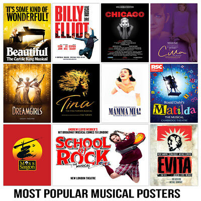 Most Popular Classic Musical Theatre Posters, 200gsm Gloss Quality Print
