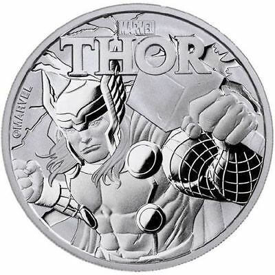 2018 Tuvalu Marvel Series Thor 1 oz. Silver $1 Coin In Mint Cap (BU)