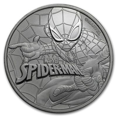 2017 Tuvalu Marvel Series Spider-Man 1 oz. Silver $1 Coin In Mint Cap (BU)