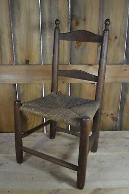 Antique 1700's Ladderback Child's Chair Old Natural Rush Seat - American
