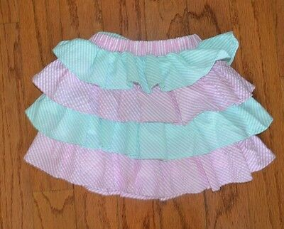 Girls E Land Striped Ruffle Skirt ~ Sz 3-4