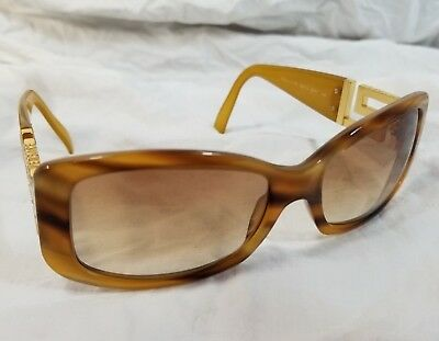 8920d0e0cea Versace 4111-B Light Brown Tortoise Shell Sunglasses with Rhinestones on  sides