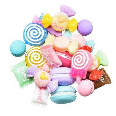 20 Candy Lollipop Clay Macarons Resin Cabochon Flatbacks Embellishment Craft