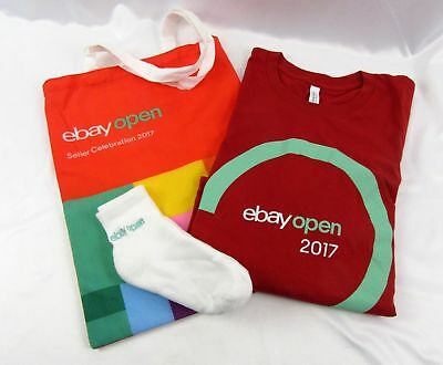 EBay Open 2017 Logo Lot Red Large T-Shirt Ankle Socks Cloth Tote Bag eBayana